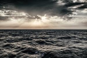 Sunset in the international waters north of Sabratah, Libya