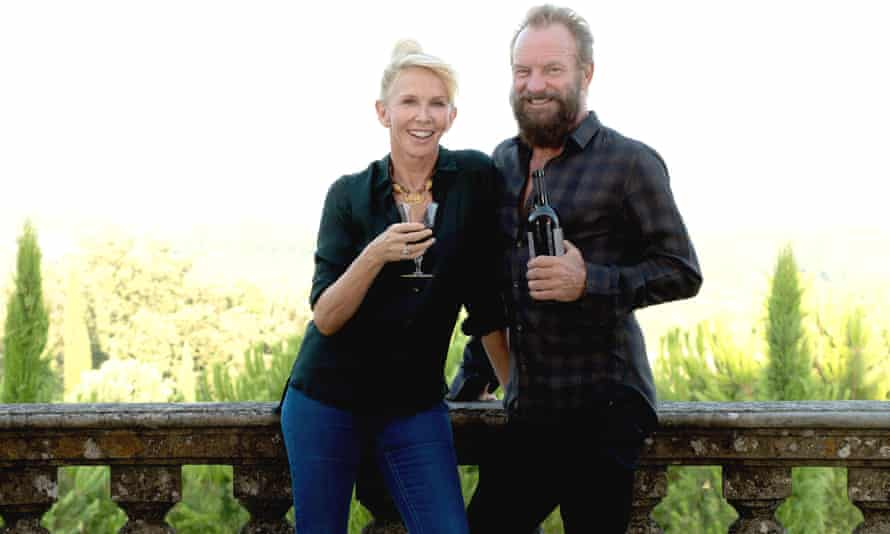 Sting and Trudie Styler enjoy a glass of wine from their winery.