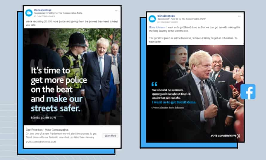 Two Conservative Facebook ads, one seen only by women (left) and the other only by men (right).
