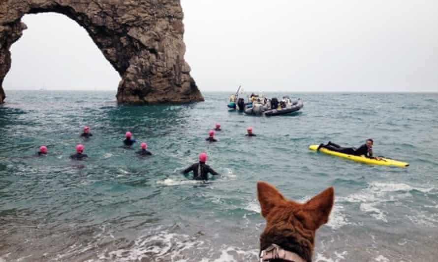 open water swimming at Durdle Door, UK