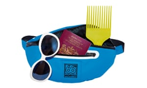 Photograph of bum bag with afro comb, sunglasses and European passport