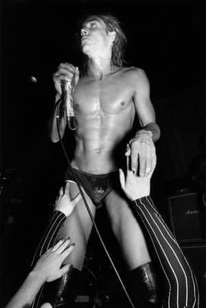 Iggy Pop performing with the Stooges, whose album Metallic KO was released by Marc Zermati.