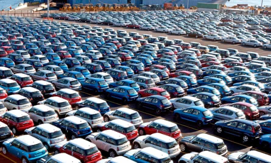 Cars, including Minis, await shipment at Southampton Docks.