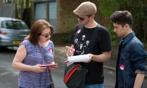 Pamela Fitzpatrick pictured canvassing with her son Ben, right.