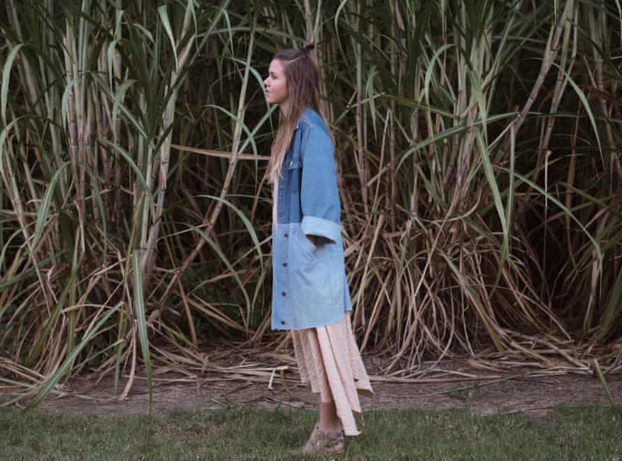 Maddy Rawlings in her completed patch-work denim trench