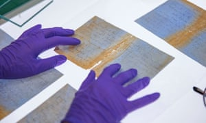 Letters from the SS Gairsoppa, handled by a conservator.