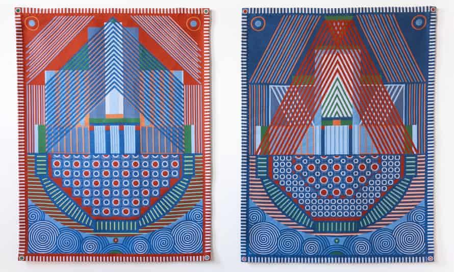 Keepsafe (I and II), 2019 … bold tapestries evoke fearsome reactors.