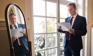 Keir Starmer prepares his Labour party conference speech in his London office.
