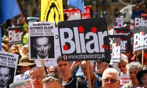 Protesters mark the release of the Chilcot report in London