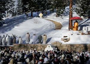 Vissarion speaking to his followers outside in the snow at a Christmas pilgrimage