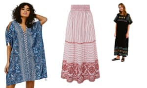 Monsoon Helena kaftan dress and Josette maxi skirt. Embroidered belted kaftan dress from & Other Stories.