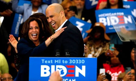 Kamala Harris and Cory Booker during a rally for Joe Biden in Detroit, Michigan, on 9 March.