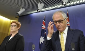Australian prime minister Malcolm Turnbull and minister for defence Senator Marise Payne.