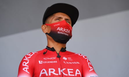 Nairo Quintana, pictured on stage prior to a race, is said to have been interviewed by police
