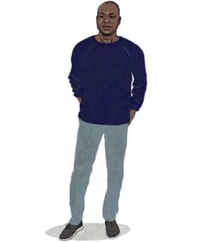 Illustration of Diébédo Francis Kéré wearing his cotton pullover