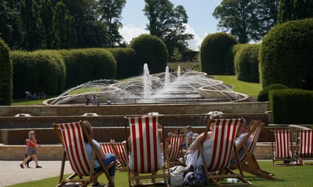 Visitors to Alnwick Gardens in Northumberland enjoy the sun on Wednesday.
