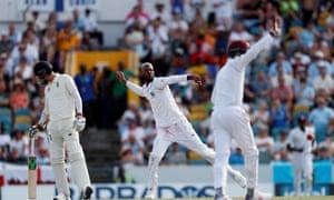 Roston Chase celebrates taking another wicket.