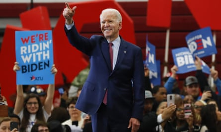 Joe Biden speaks during a campaign rally in Detroit, Michigan, on 9 March.