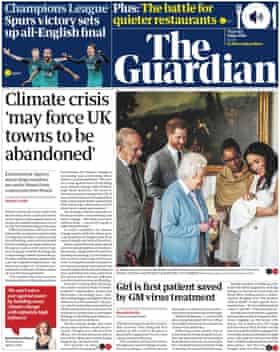 Guardian front page, Thursday 9 May 2019