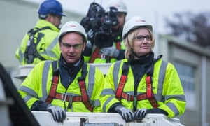 Energy and climate change secretary, Amber Rudd, rides in a cherry picker during a visit to UK Power Network training centre
