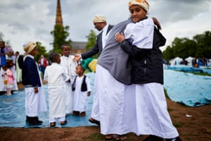 More than 10,000 Muslims gathered at Eid in the Park at Platt Fields in Manchester in June 2019.