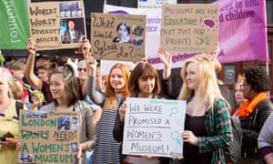 Young women protest outside the Jack the Ripper museum on Tuesday.