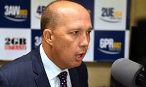 Minister for Immigration Peter Dutton at a radio interview at Parliament House in Canberra