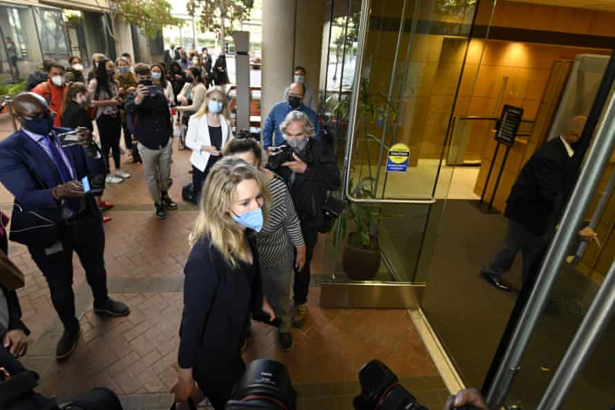 Elizabeth Holmes arrives at the federal courthouse for jury selection in her trial on 31 August.