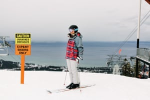 Elizabeth Swaney stands at the top of an expert slope at Heavenly Ski Resort in South Lake Tahoe.