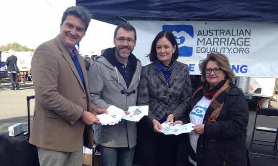 Rodney Croome, Ivan Hinton-Teoh, Sarah Henderson and Sharyn Faulkner during Sharyn's campaign for marriage equality in Geelong