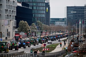 Mink farmers drive their tractors through Copenhagen in protest at plans to cull 15m mink,