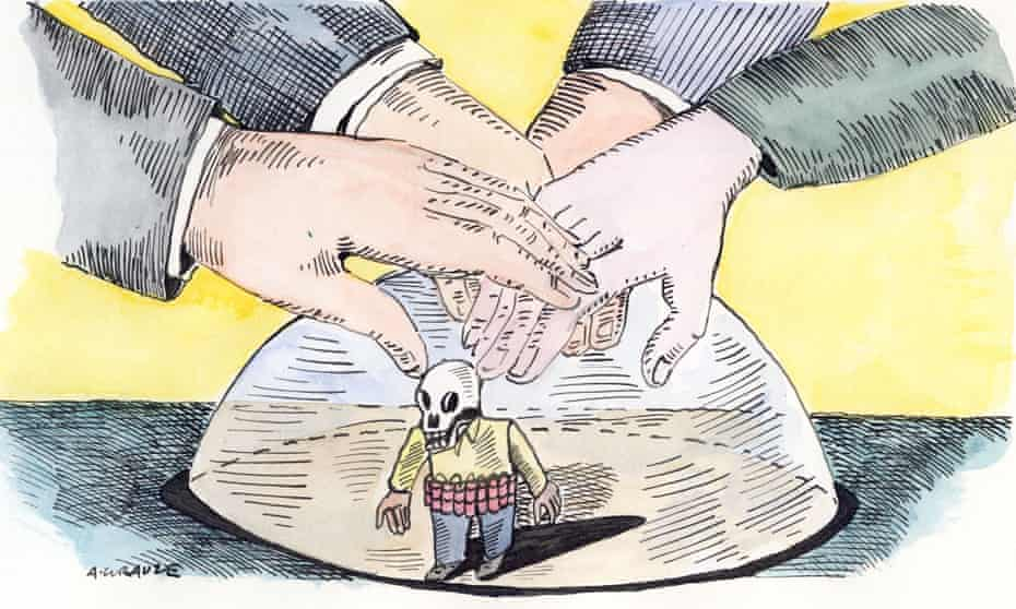 Illustration, of politicians' hands keeping lid on terror, by Andrzej Krauze