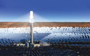 Rendering from company SolarReserve of the planned Aurora solar thermal plant.
