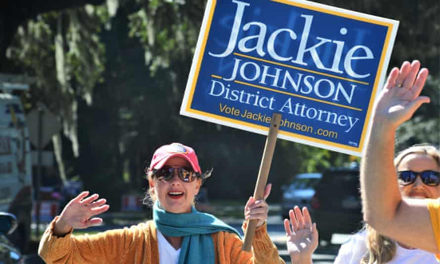 Jackie Johnson campaigns for re-election as district attorney in November 2020. She blamed the controversy over Ahmaud Arbery's killing for her defeat.