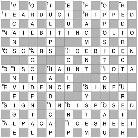 Independent crossword 10,626 by Alchemi; perimeter reads PLEASE DON'T VOTE FOR DONALD TRUMP