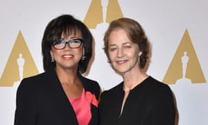 Cheryl Boone Isaacs with Charlotte Rampling at the Oscar nominees brunch.