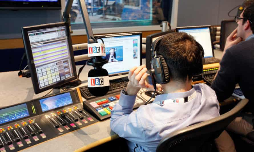 Observer New Review at LBC radio station; in the studios at leicester square. The control room.