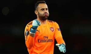 Down the other end of the pitch, David Ospina gives a big sigh of his release after his mistake lead to Cologne taking the lead.