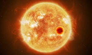 Hot exoplanet passes in front of its parent star.
