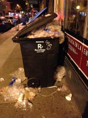 An overflowing bin of LDPE plastic bags in San Francisco.