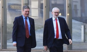 Jeremy Corbyn (right) and Sir Keir Starmer arriving at the European commission HQ in Brussels.