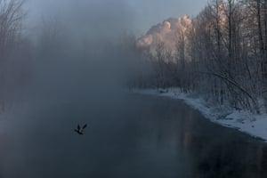 Chaudière River at sunrise. February 2014
