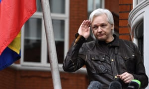 WikiLeaks founder Julian Assange at London's Ecuadorian Embassy. US investigators claim Ted Malloch was asked to obtain secret information from WikiLeaks for Trump's team.