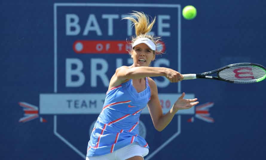 Katie Boulter on her way to victory over Beth Grey