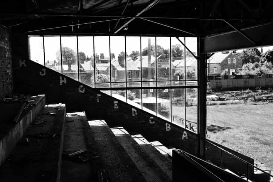 The stripped and vandalised Main Stand