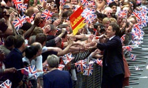 Tony Blair greets the crowds after his election victory in May 1997. A year later, he shelved the Jenkins report on electoral reform.