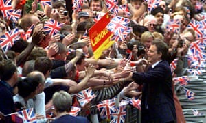 Tony Blair arrives in Downing Street on 2 May 1997 as prime minister
