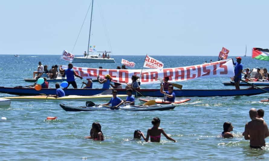 Protest against far-right group in waters off Sicily.