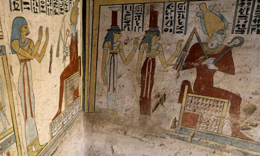 Wall paintings inside the tomb, dating back more than 2,000 years, are well preserved.
