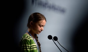Climate activist Greta Thunberg gives a speech during an event on the climate emergency hosted by the Chilean presidency during COP25